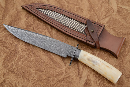 Walrus Ivory & Damascus Bowie