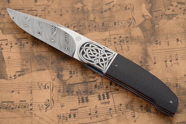 Celtic Knot: Engraved L40FF with Damascus and Carbon Fiber (IKBS)