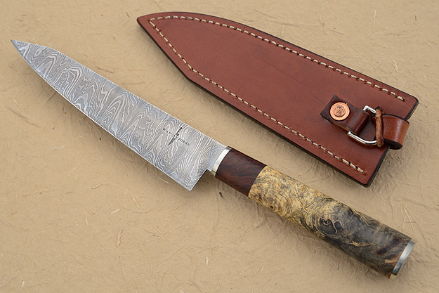 Damascus Petit Gyuto/Utility Knife with Buckeye Burl (6-1/4 in)