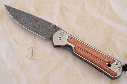 Large Sebenza 21 with Bloodwood and Stainless Raindrop Damascus