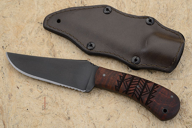 Belt Knife with Maple, Tribal Markings, Serrations and Caswell Finish