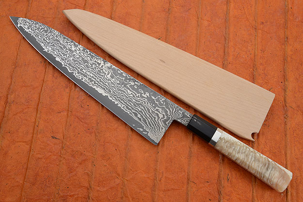 Chef's Knife (Gyuto) with Stainless Damascus San Mai and Muskox Horn (10-1/3