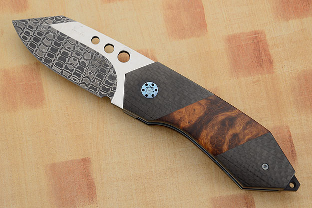 FLF Damascus Folder with Ironwood, Carbon Fiber, and MoonGlow II (IKBS)