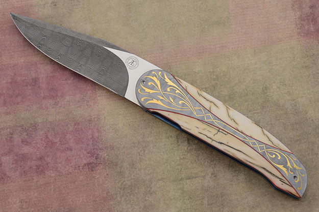 L40 Front Flipper with Mammoth Ivory, Damascus, and Gold Inlay (IKBS)