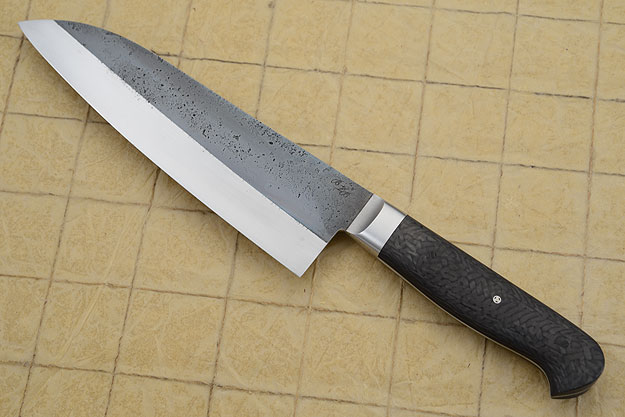Chef's Knife (Santoku), Forge Finish with Carbon Fiber (7 in)