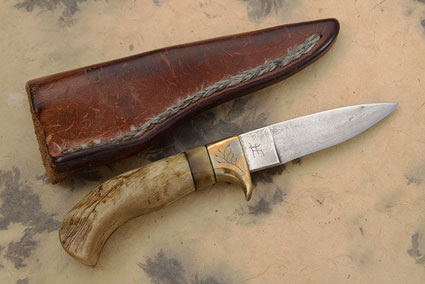 Damascus Pronghorn (3.6 in) - 'Dad's Knife'