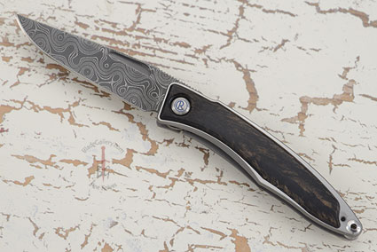 Mnandi with Gabon Ebony and Stainless Raindrop Damascus