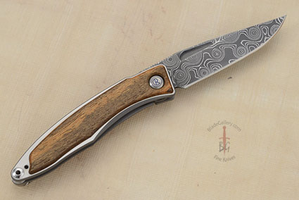Mnandi with Bocote and Raindrop Damascus, Left Handed