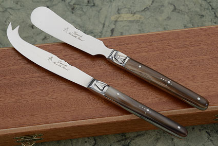 Laguiole Cheese Knife Set with Horn Tip