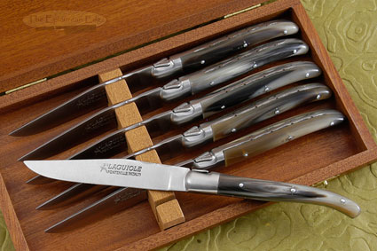Laguiole Steak Knives, Set of 6 with Horn Tip