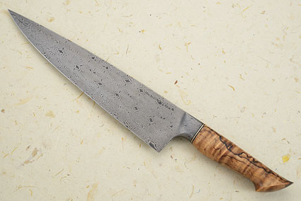 Chef's Knife (10 in) with Mosaic Damascus and Spalted Curly Maple