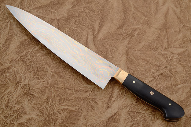 Chef's Knife (Gyuto) with Mokume Gane San Mai and Ebony (9 2/3
