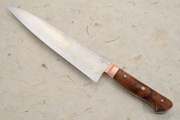 Chef's Knife (Gyuto) with Mokume Gane San Mai and Ironwood (9 1/4