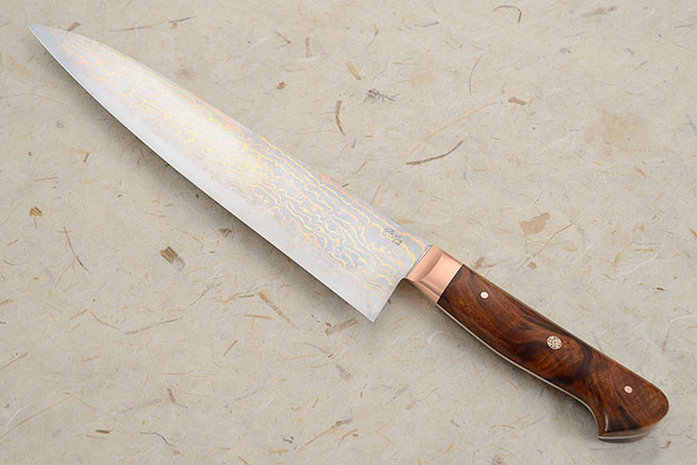 Chef's Knife (Gyuto) with Mokume Gane San Mai and Ironwood (9 1/4