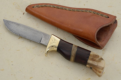 Damascus Pronghorn Hunter (3.9 in) with Sheep Horn and Ironwood