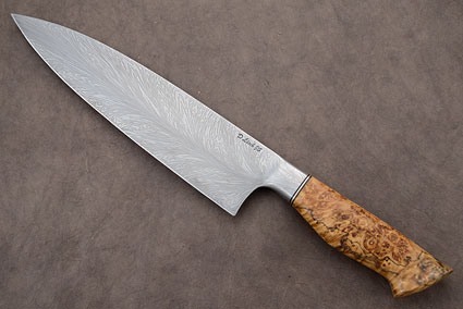 Chef's Knife (8-3/4 in.) with Spalted Box Elder and Feather Pattern Damascus