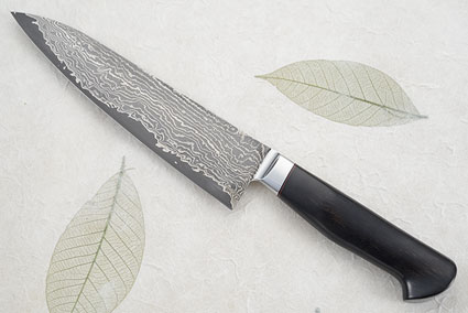 Chef's Knife (Gyuto) with Stainless Damascus San Mai and Ebony (8