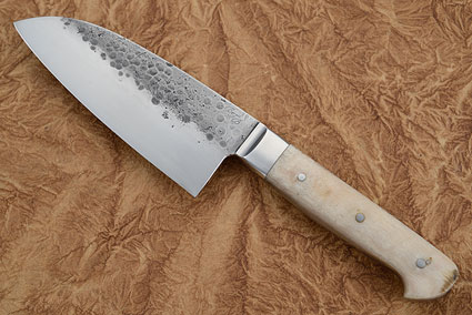 Chef's Knife (Santoku), Forge Finish with Sheep Horn (5 in)