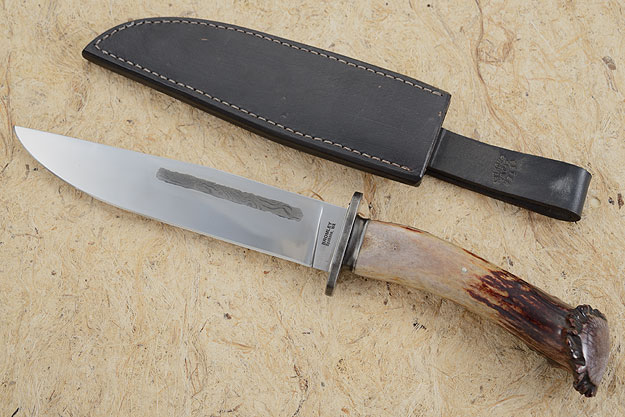 Stag Handled Bowie with Damascus Inlay