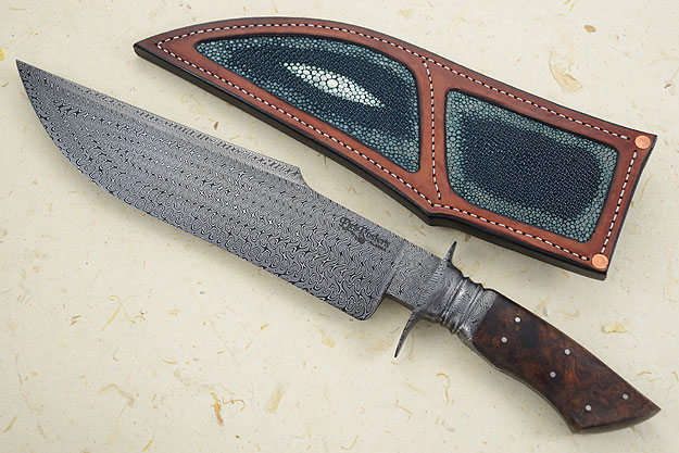Integral Damascus Bowie with Desert Ironwood