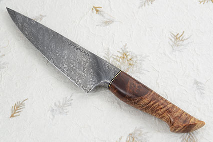 Chef's Knife with Maple Burl and Damascus (6-1/4 in)