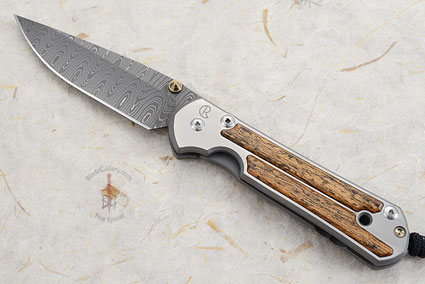 Large Sebenza 21 with Bocote and Stainless Ladder Damascus