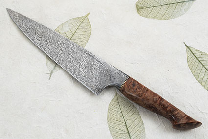 Chef's Knife (8 in) with Babbling Brook Pattern Mosaic Damascus and Maple Burl