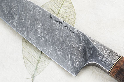 Chef's Knife - Santoku - (7 in) with Turning Tides Pattern Mosaic Damascus and Claro Walnut