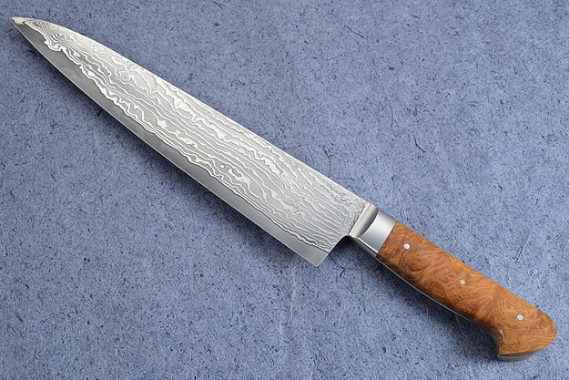 Chef's Knife (Gyuto) with Stainless Damascus San Mai and Wild Almond Burl (9-1/2