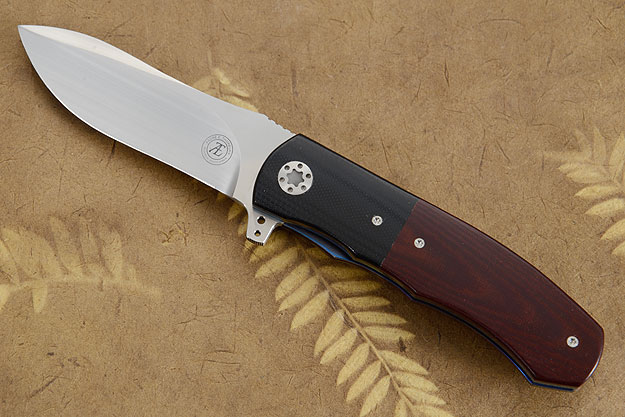 L46 Flipper with Burgundy Linen Micarta and Black G10 Inlay (IKBS)