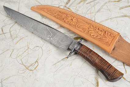 Damascus Bowie with Curly Koa