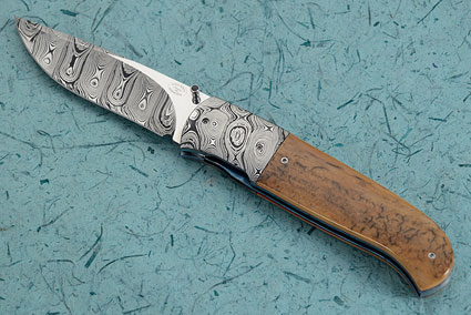 LL10 Damascus Folder with Mammoth Ivory