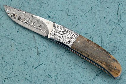 LL01 Folder with Damascus and Mammoth Ivory