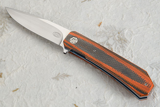 LL12 Flipper with Stacked Orange G10 and Carbon Fiber (IKBS)