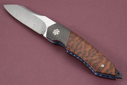 Tactical Liner Lock with Damascus, Carbon Fiber, Snakewood and MoonGlow II (IKBS)