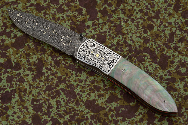 Engraved M3 Folder with Black Lip Mother of Pearl