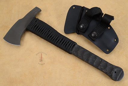 Hammer Combat Axe with Sculpted Rubber, Cord Wrap and Caswell Finish