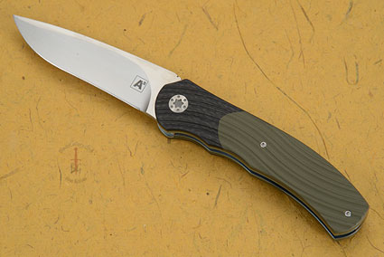 A1 Front Flipper with OD Green G10 and Black Carbon Fiber (IKBS)