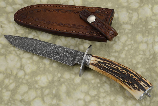 Spiderweb Damascus Fighter with Stag