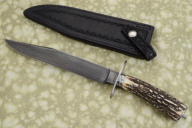 Spiderweb Damascus Bowie with Stag