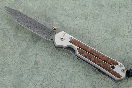 Small Sebenza 21 with Snakewood and Basketweave Damascus