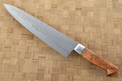 Chef's Knife (Gyuto) with Stainless Damascus San Mai and Cherry Burl (10-1/8
