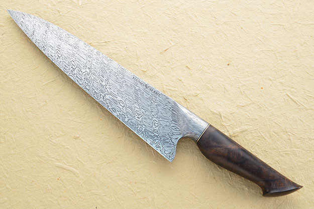 Chef's Knife (10 in) with Babbling Brook Pattern Damascus and Figured Walnut