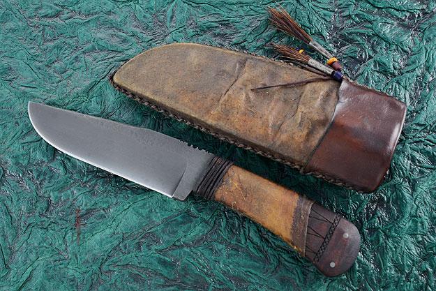 Field Knife with Maple, Tribal Markings
