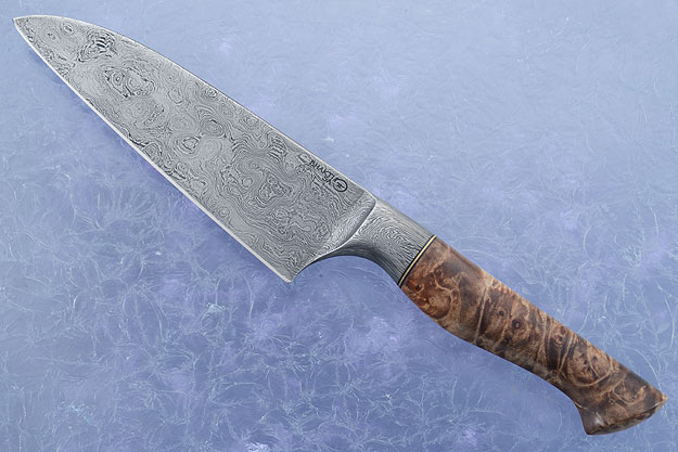 Chef's Knife - Santoku - (6 in.) with Maple Burl and Pool & Eye Damascus