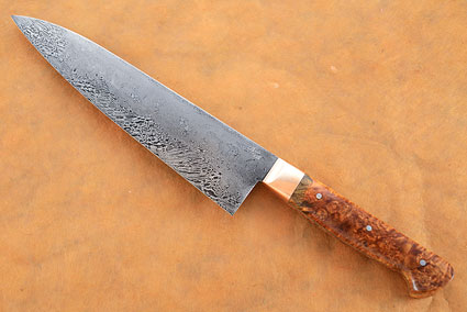 Chef's Knife with Box Elder Burl and San Mai Damascus (8 in)