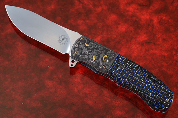 L46 Flipper with Blue/Silver Carbon Fiber and Engraved Zirconium (IKBS)