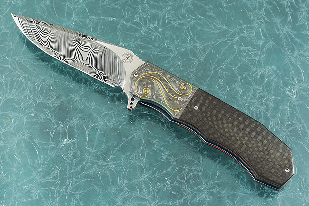L44M Flipper with Carbon Fiber and Zirconium - Engraved Scrolls and Gold Inlay (IKBS)