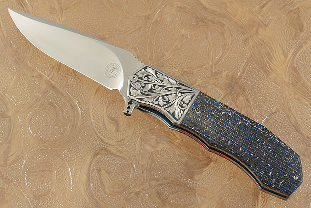 L44M Flipper with Blue/Silver Carbon Fiber and Engraved Scrolls (IKBS)