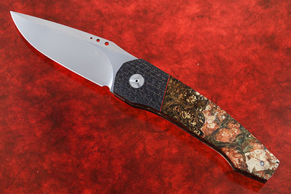 Tactical Front Flipper with Box Elder Burl and Lightning Strike Carbon Fiber (IKBS)